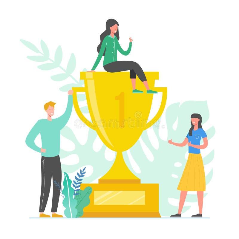 Drużynowa sukcesu pojęcia ilustracja Lider biznesu ludzie świętuje zwycięstwo Mężczyzna i kobieta dokonuje nagrodę Biznesmen royalty ilustracja