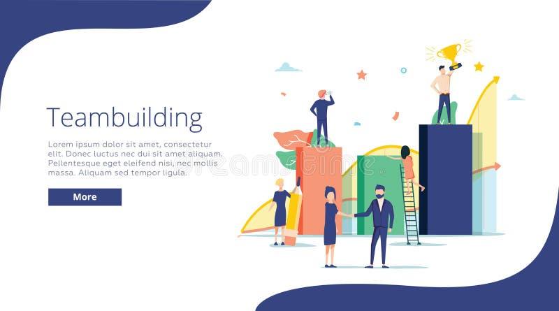 Drużynowego budynku pojęcia ilustracja, doskonalić dla sieć projekta, sztandar, mobilny app, ląduje stronę, wektorowy płaski proj royalty ilustracja