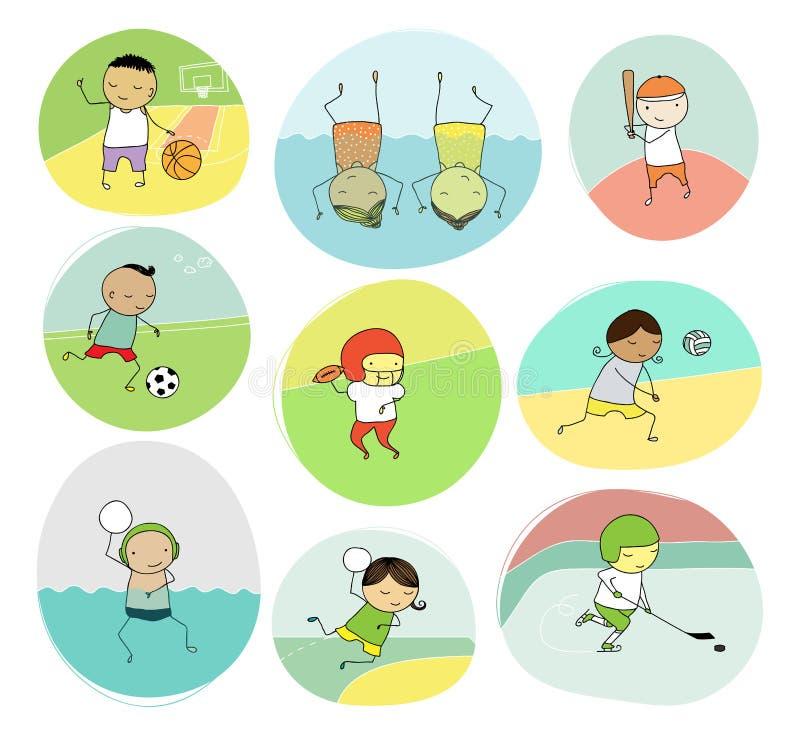 Drużynowego sporta doodle dzieciaki royalty ilustracja