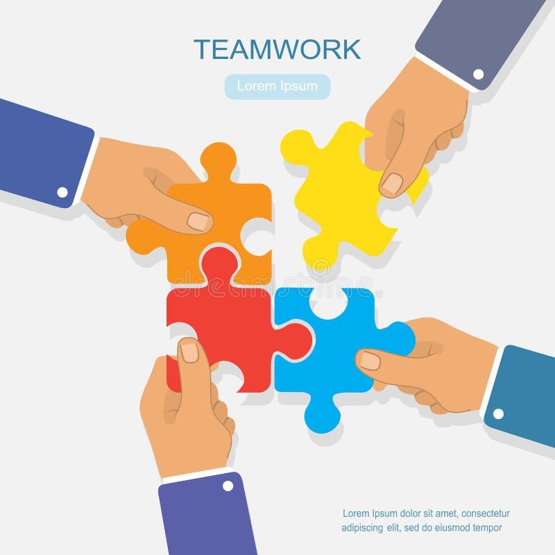 Drużynowej pracy biznesowy ilustracyjny pojęcie, biznesowe ręki łączy ilustracja wektor