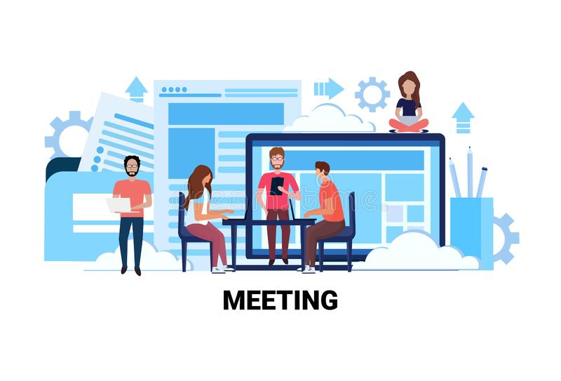 Drużynowi brainstorming biznesowego spotkania pojęcia ludzie biznesu siedzi miejsce pracy wywiadu biurową dyskutuje pracę zespoło royalty ilustracja