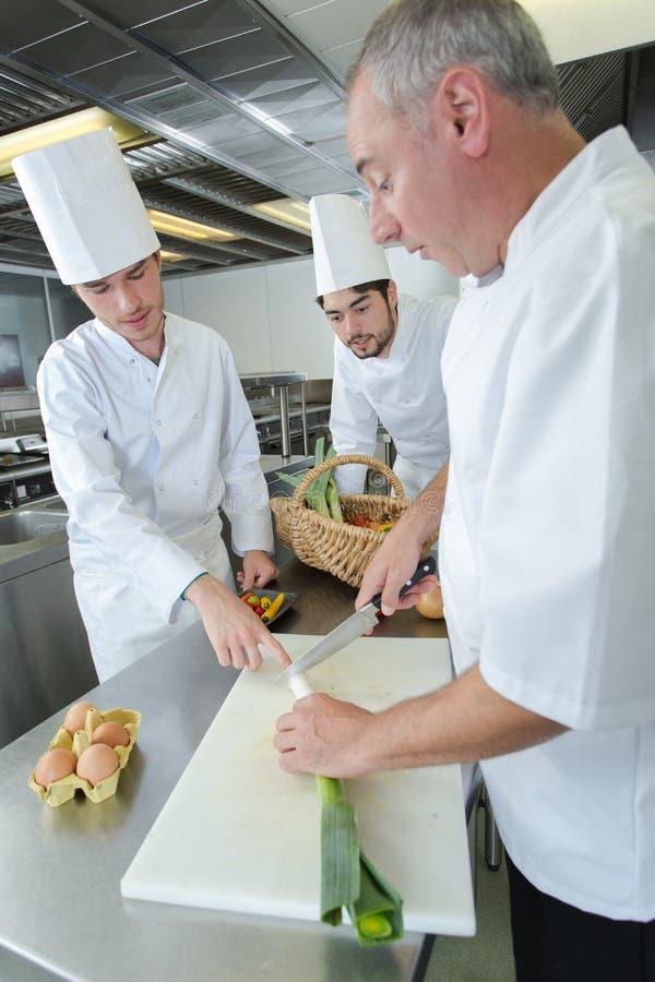 Drużynowi młodzi aplikantów szefowie kuchni przygotowywa garmażerii naczynia obraz royalty free