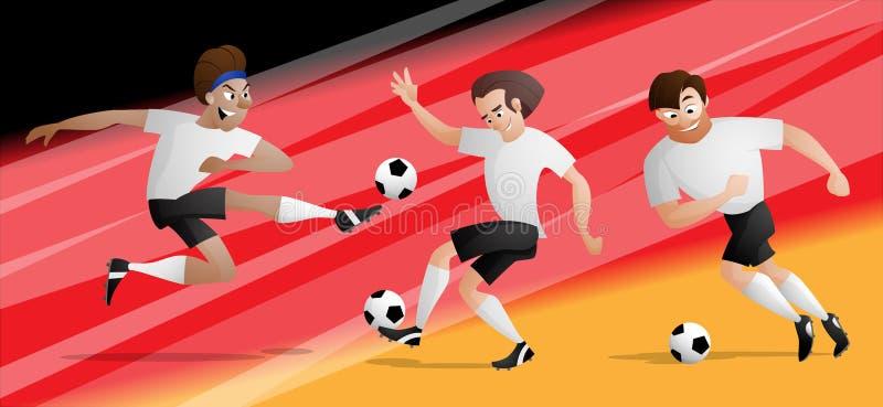 Drużynowi Niemcy futbolowi gracze piłki nożnej ustawiają kopać piłkę ilustracja wektor