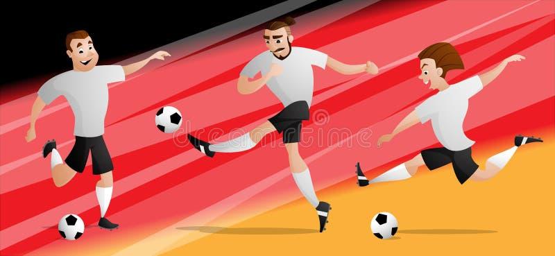 Drużynowi Niemcy futbolowi gracze piłki nożnej ustawiają kopać piłkę ilustracji