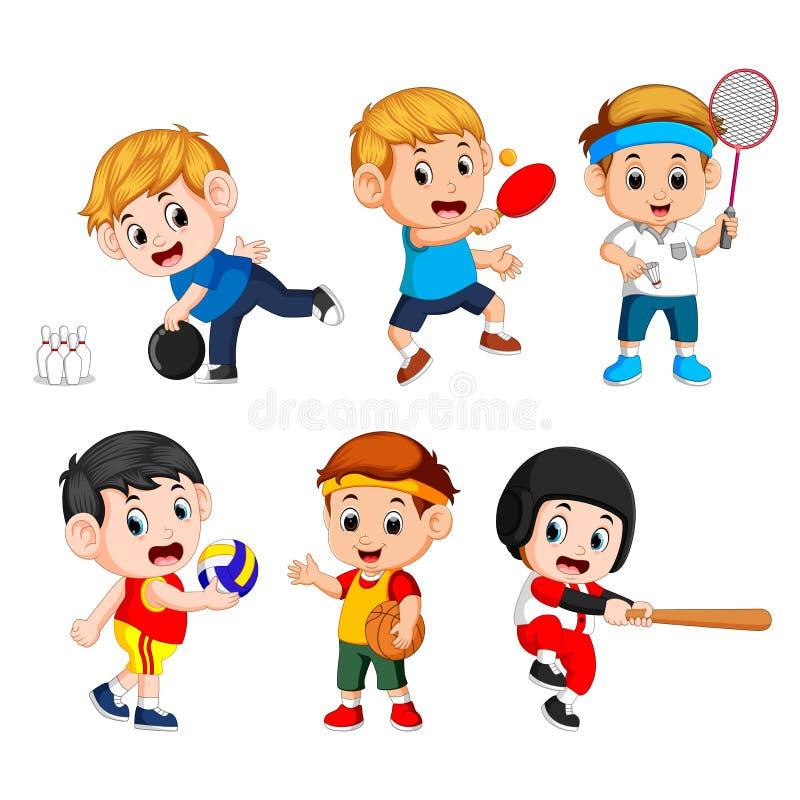 Drużynowi sporty dla dzieciaków wliczając koszykówki, baseball, kręgle, siatkówka, badminton, stołowy tenis ilustracja wektor