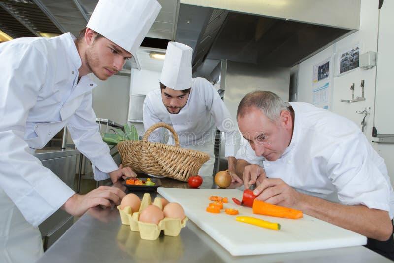 Drużynowi szefowie kuchni sieka warzywa w kuchni obraz stock