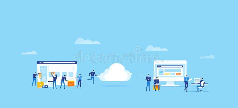 Drużynowy biznes rozwija aplikację sieciową i projektuje i upload łączy chmurnieć dla online użytkownika ilustracja wektor