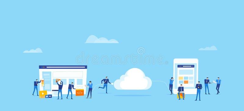 Drużynowy biznes rozwija aplikację sieciową i projektuje i upload łączy chmurnieć dla online użytkownika pojęcia royalty ilustracja