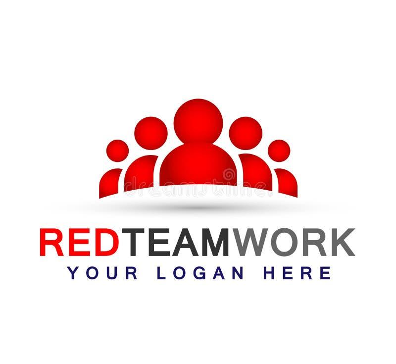 Drużynowy praca logo w czerwonych partnerstwo edukaci świętowania grupowej pracy symbolu ikony wektoru projektów na białym tle lu royalty ilustracja