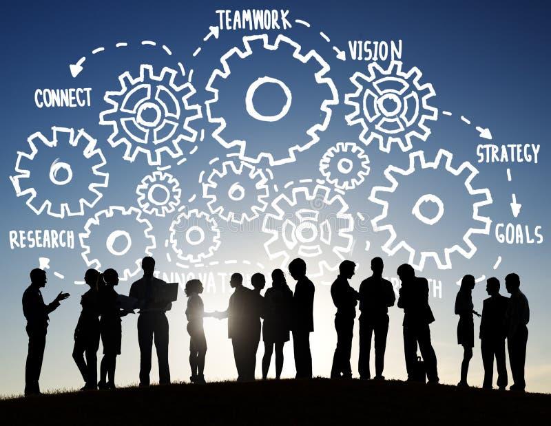 Drużynowy praca zespołowa celów strategii wzroku Biznesowego poparcia pojęcie obrazy stock