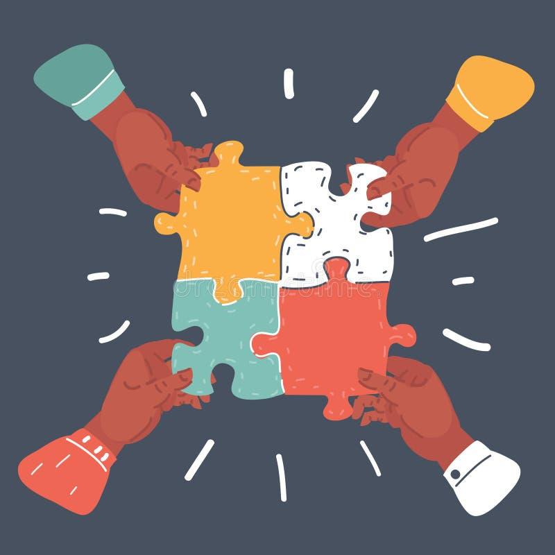 Drużynowy pracy pojęcie, biznesowe ręki łączy łamigłówkę ilustracja wektor