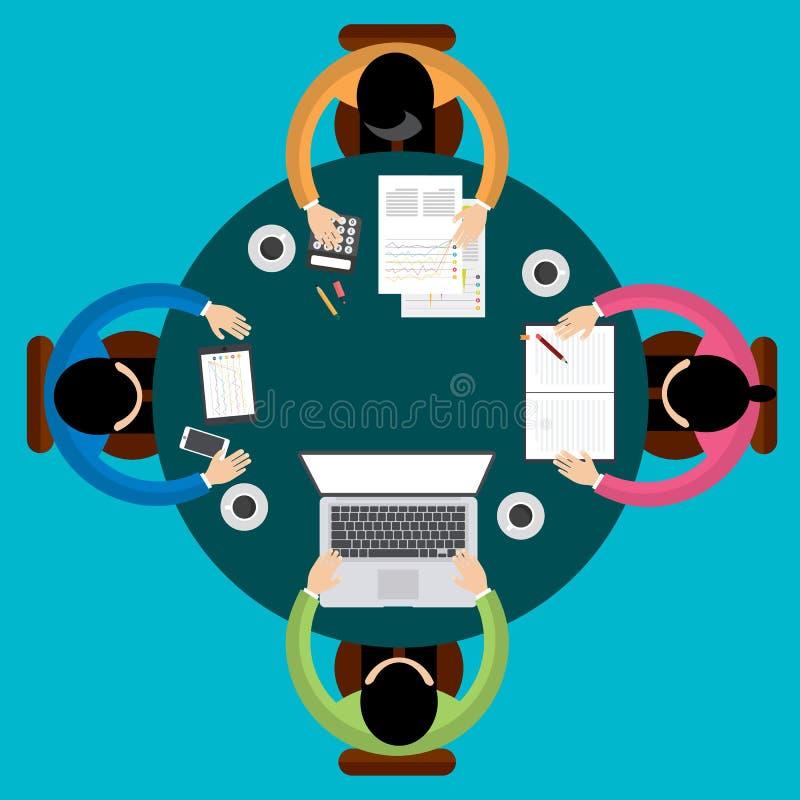 Drużynowy pracy zespołowej Biznesowego spotkania pojęcie, mieszkanie styl, Infographics biznes, wektor royalty ilustracja
