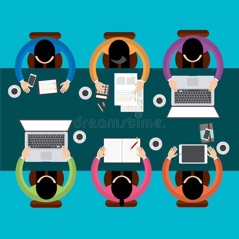 Drużynowy pracy zespołowej Biznesowego spotkania pojęcie, mieszkanie styl, Infographics biznes, wektor ilustracji