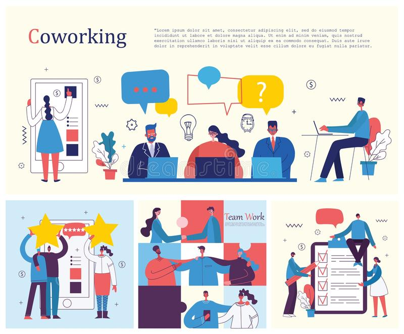 Drużynowy pracy zespołowej więzi współpracy pojęcie ilustracji