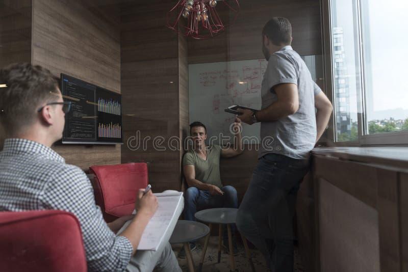 Drużynowy spotkanie i brainstorming w małym intymnym biurze zdjęcie stock