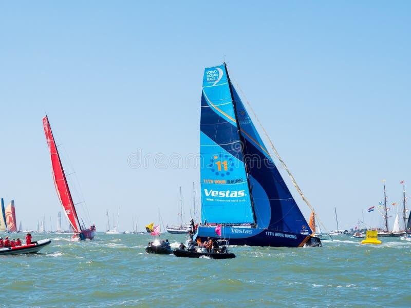 Drużynowy Vestas w Brunel portu rasie Volvo Ocean Race kona festiwal w Scheveningen Haga, holandie VOR 2017-2018 zdjęcia stock