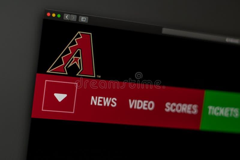 Dru?yny basebolowej Arizona Diamondbacks strony internetowej homepage Zamyka w g?r? dru?ynowego logo fotografia royalty free