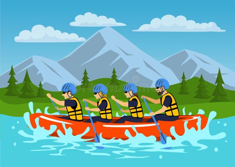 Drużyny, grupy ludzi, mężczyzna i kobiety whitewater flisactwo na rzece, ilustracja wektor