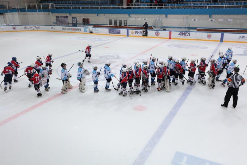 Drużyny po Lodowego hokeja dopasowywają Bobrov vs Piter obraz royalty free