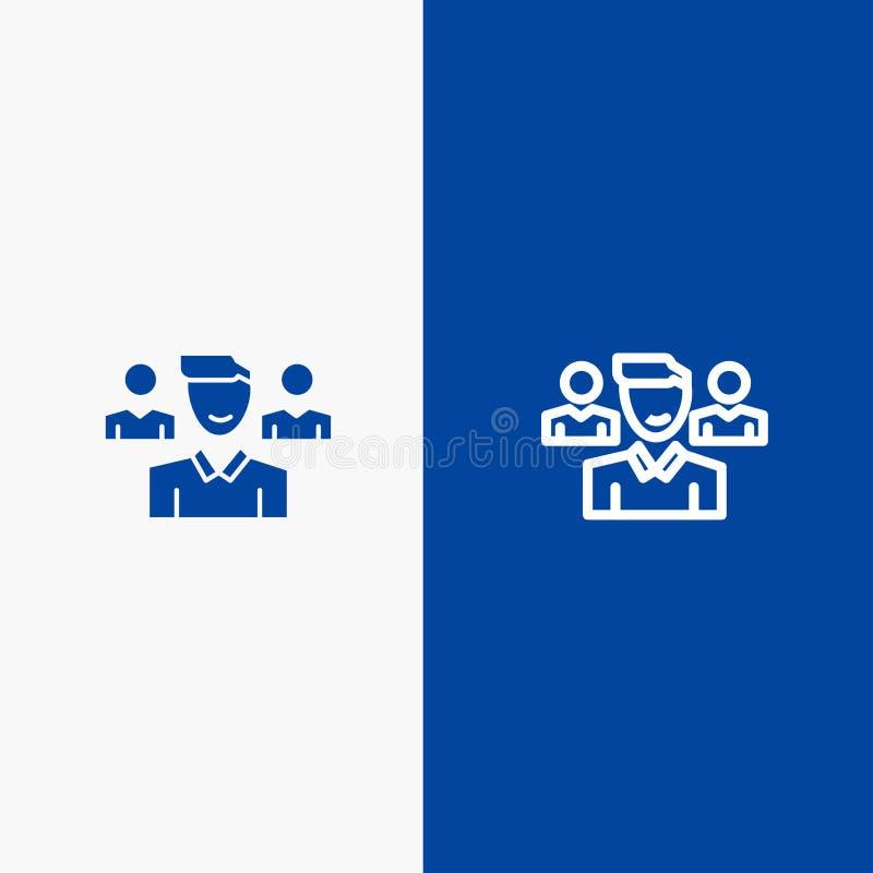 Drużyny, użytkownika, kierownika, oddział linii i glifu Stałej ikony sztandaru glifu, Błękitnej ikony błękita Stały sztandar royalty ilustracja