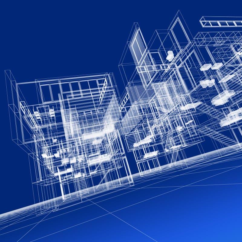 Druciany ramowy budynek ilustracji