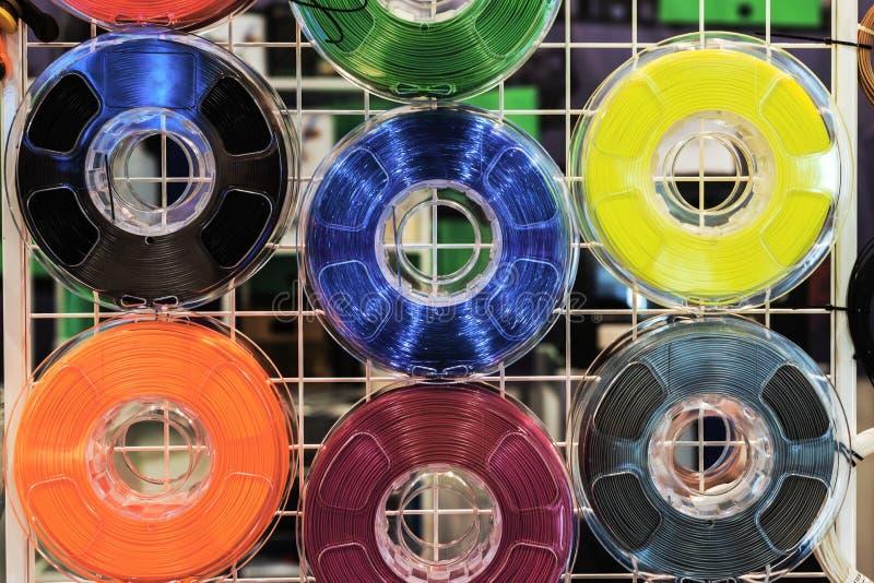 Drucik dla 3d druku: sześć zwitek termoplastyczny obraz royalty free