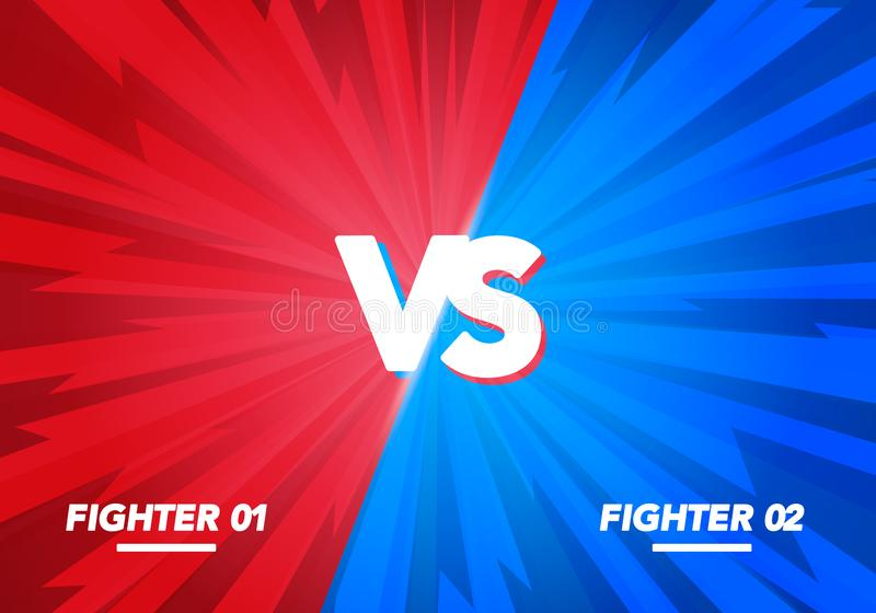 Vector Illustration Versus screen. Vs Fight background for battle, competition and game. red vs blue fighter. stock illustration