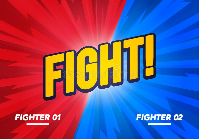 Vector illustration Versus And Fight Background Poster In Comic Style. Blue vs Red Fighter. royalty free illustration