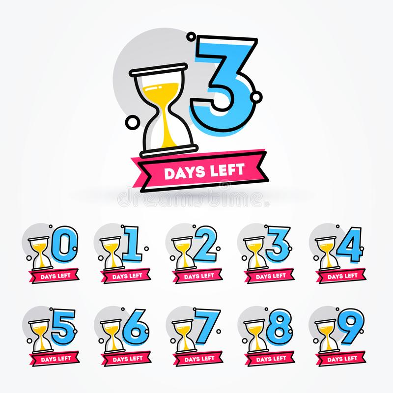 Vector Illustration Number of Days Left with Sand Timer Hourglass Badge for Sale, Promotion or Retail stock illustration
