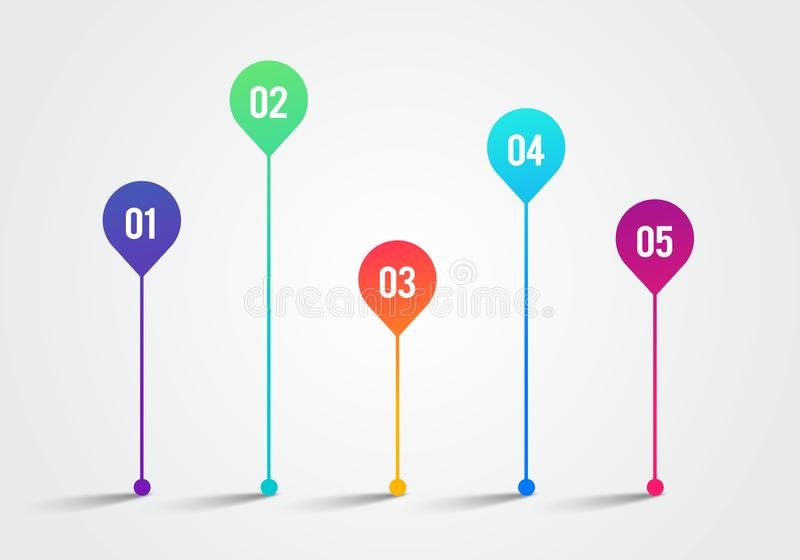 Vector Illlustration Timeline 3d Infographic 1 to 5 Design Template. Charts, Diagrams and other Vector Elements for Data and stock illustration