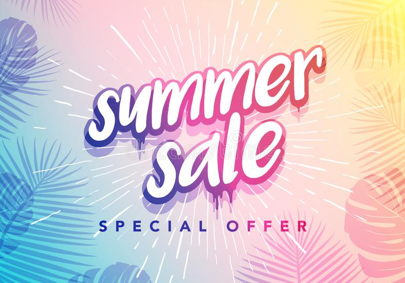 Vector Trendy Hot Summer Sale Banner. Season Holiday Time Wallpaper. Happy Modern Fashionable Styling Lettering. stock illustration