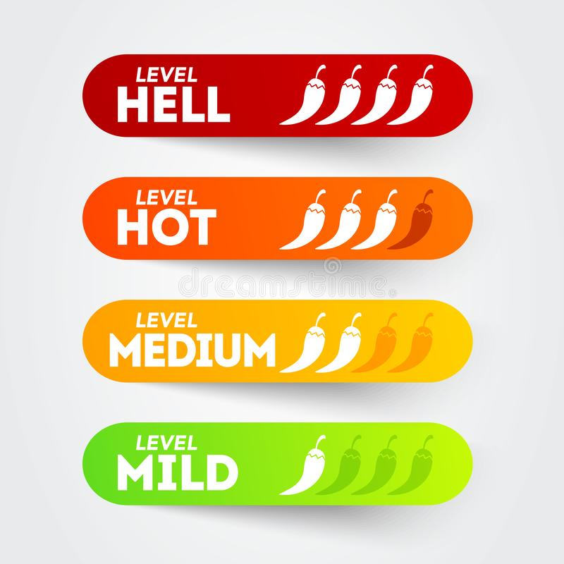 Vector illustration hot red pepper strength scale indicator set with mild, medium, hot and hell positions vector illustration