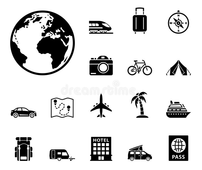 Travel and tourism icon set stock illustration