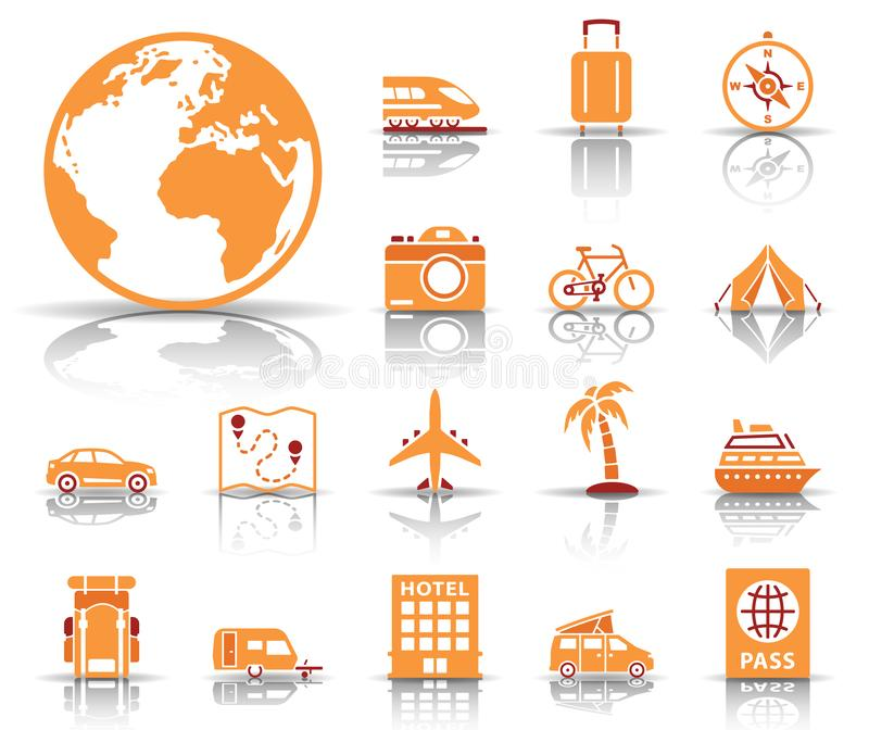 Travel and tourism icon set stock illustration