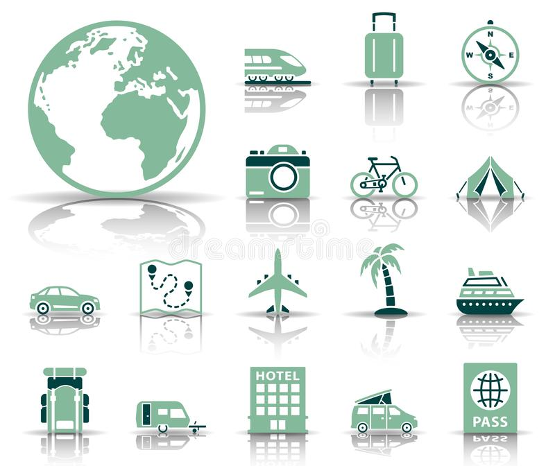 Travel and tourism icon set vector illustration