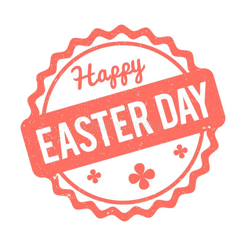 Happy Easter rubber stamp Coral color on a white background.  stock illustration