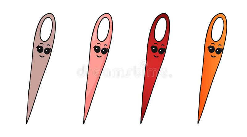 Set of four hand drawn smiling kawaii doodle sewing needles in different versions royalty free illustration