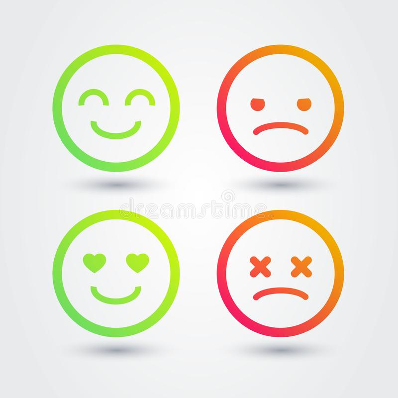 Vector Illustration Good, Bad, Positive, Negative Emoji Icons Set. Vector Illustration Cool Good, Bad, Positive, Negative Emoji Icons Set vector illustration