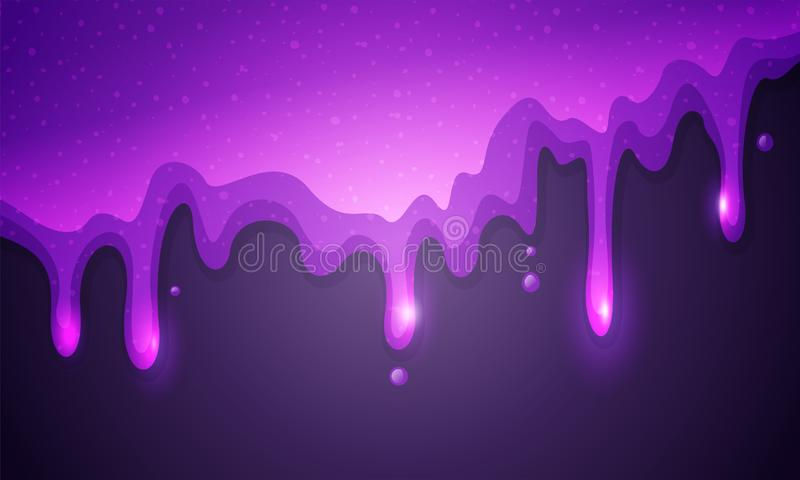 Vector illustration glitter slime dripping on violet background. Glossy purple texture. Vector illustration cool glitter slime dripping on violet background royalty free illustration