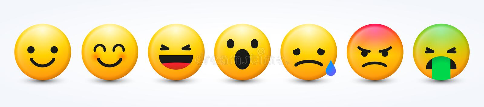 3D Design Vector New Modern Emoticons Set with Different Reactions for Social Network. Cool 3D Design Vector New Modern Emoticons Set with Different Reactions stock illustration