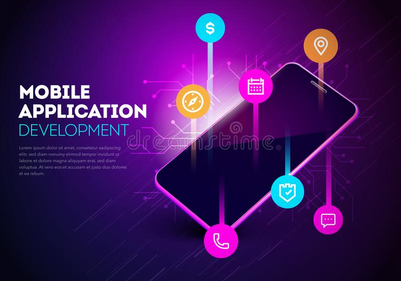 Vector Illustration Mobile App Development. Mobile Smartphone With Layout Of Application royalty free illustration