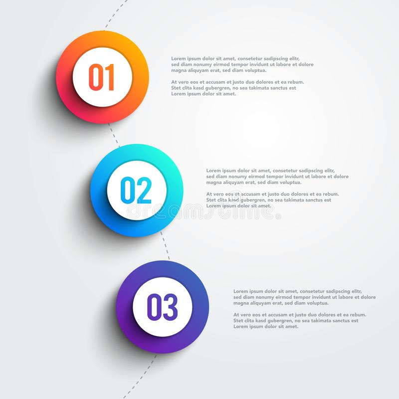 Vector 3 Colorful Marker Shapes Line Infographic. Three Step Template Design royalty free illustration