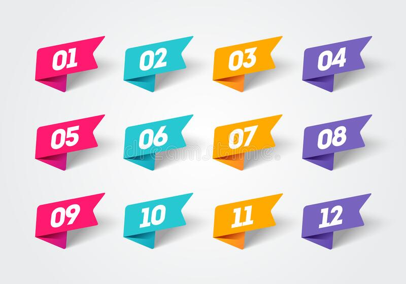 Vector illustration set of modern flag style bullet points. Retro color Numbers 1 to 12. Vector illustration cool set of modern flag style bullet points. Retro stock illustration