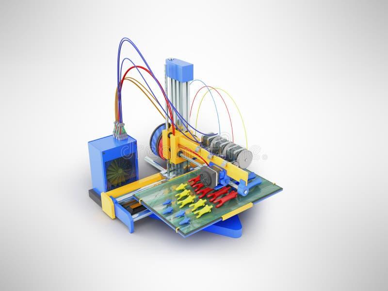 Druck des Druckers 3d, den die Prothesenhand in den Teilen 3D auf Grau übertragen lizenzfreie abbildung