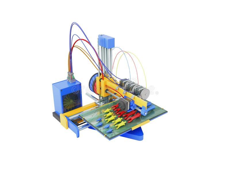 Druck des Druckers 3d, den die Prothesenhand in den Teilen 3D auf Weiß übertragen stock abbildung