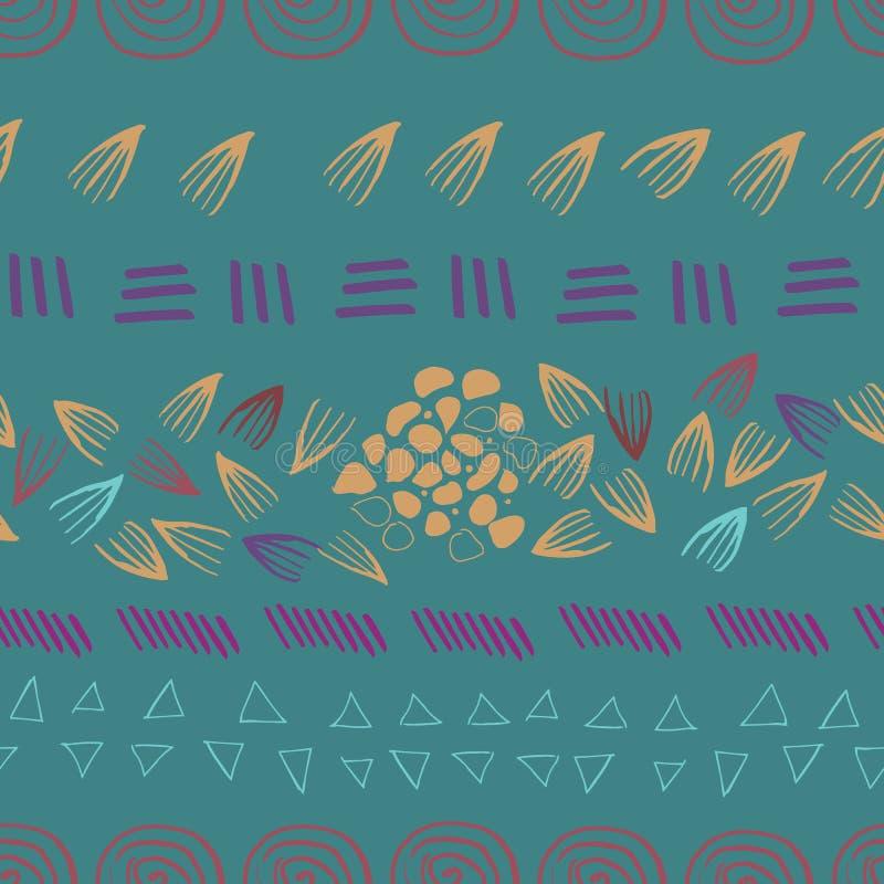 Druck-Entwurfshintergrund der Zusammenfassung aztekischer grüner nahtloser stock abbildung