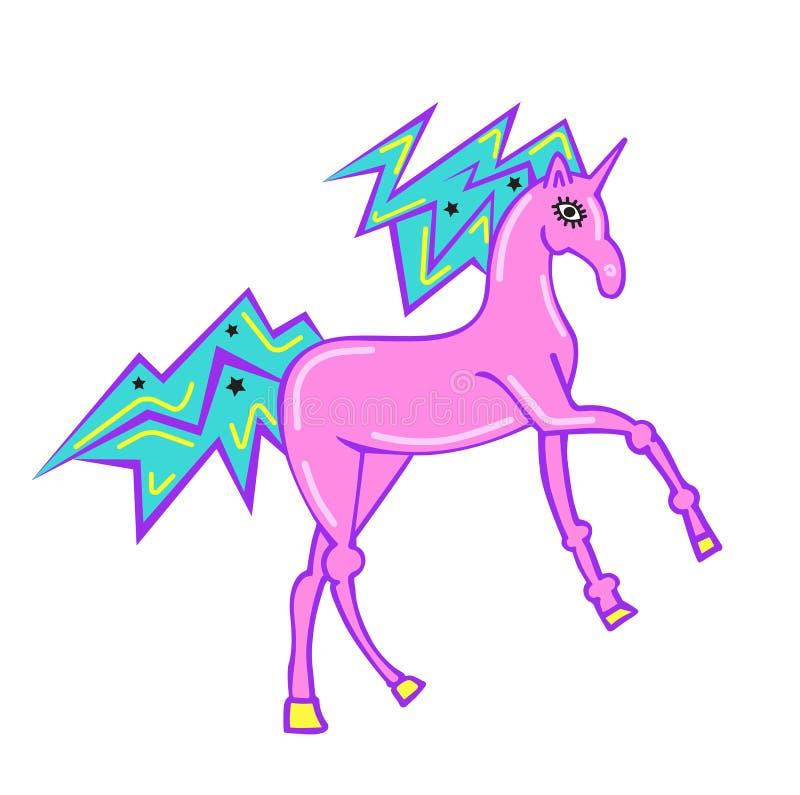 Druck für T-Shirt mit Einhorn Magisches rosa Einhorn der Fantasie, Kindergraphiken für T-Shirts Einhorndruck für Aufkleber, Fleck lizenzfreie abbildung