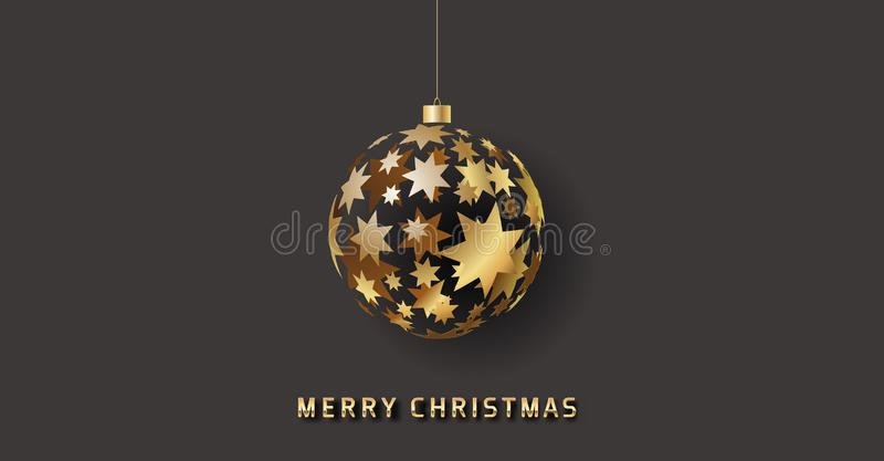 Golden glossy vector christmas bauble with stars isolated on dark background royalty free stock image