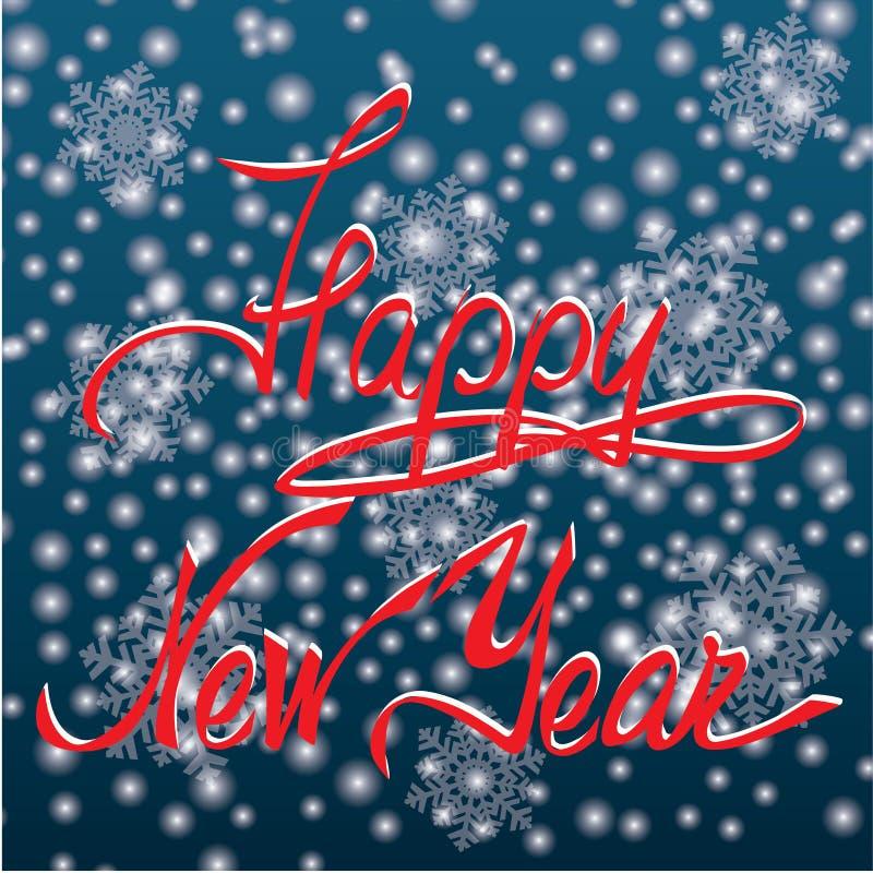 Druck-guten Rutsch ins Neue Jahr-Handbeschriftung lizenzfreie abbildung
