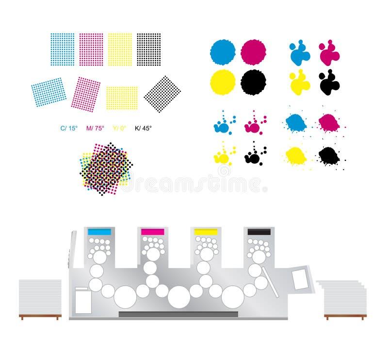 Druck Satz - Druckrosetten, Druckmaschine und cmyk stock abbildung